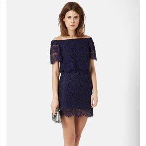 Topshop Bardot Lace Off Shoulder Dress Navy